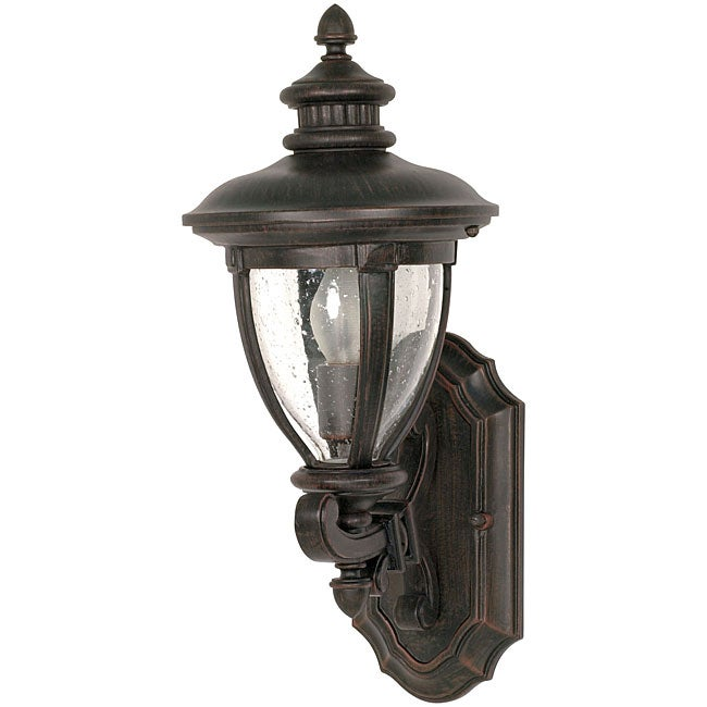 Galeon Old Penny Bronze with Clear Seed Glass 1-light Arm Up Wall Sconce