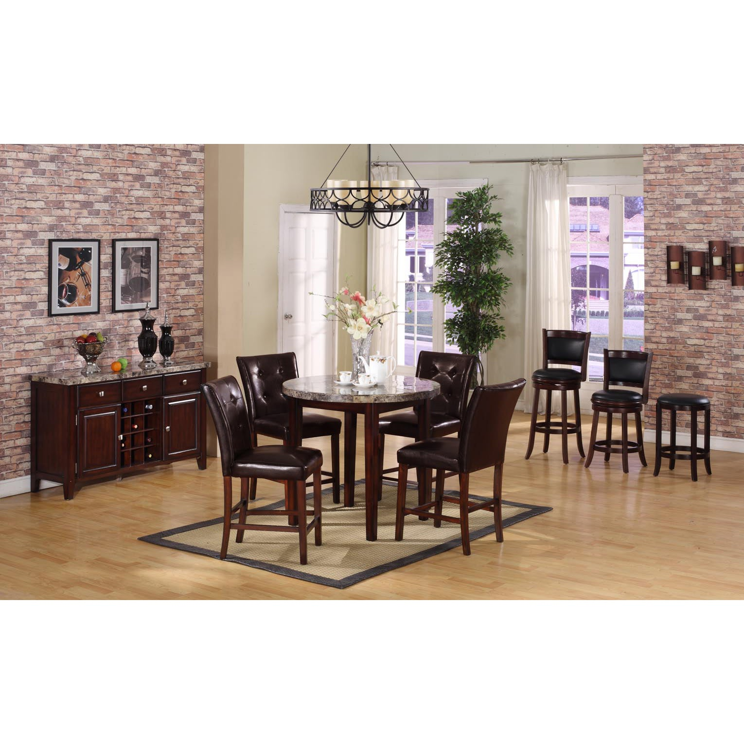 Radians Emperor Dark Faux-marble Table with Brown Barstools