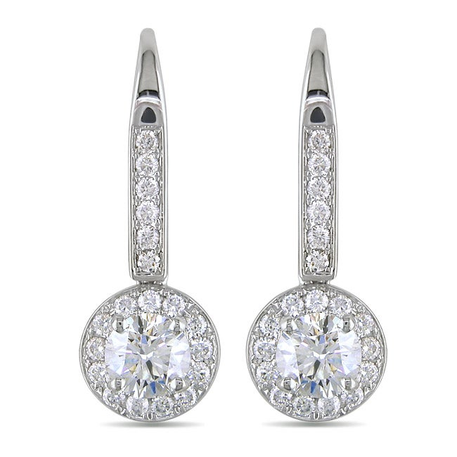 Miadora  14k White Gold 1 1/2ct TDW Diamond Leverback Halo Earrings(G-H, I1-I2)