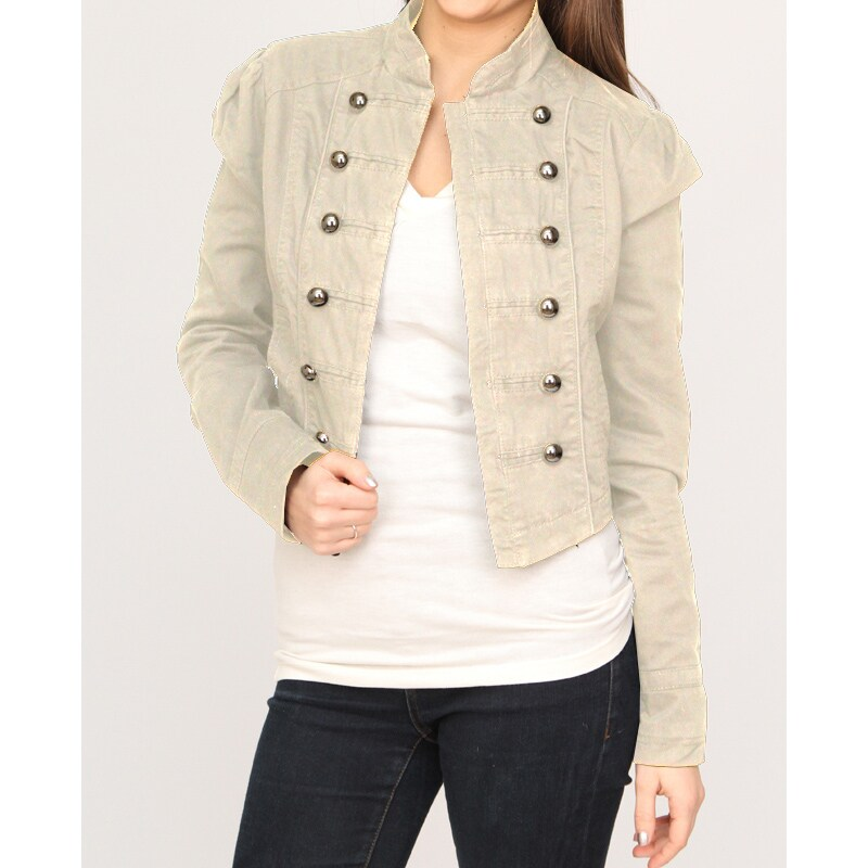 1f4c24585 Jou Jou Juniors' Cream Military Cropped Jacket