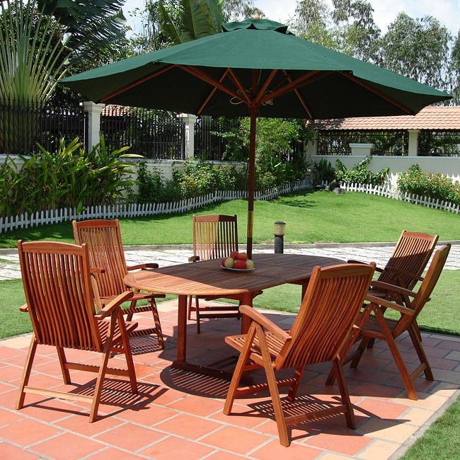 Oval Extension Table/ Folding Chair Outdoor Dining Set