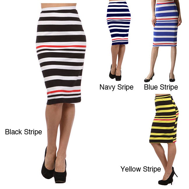 Tabeez Women's Striped High Waist Sheath Skirt