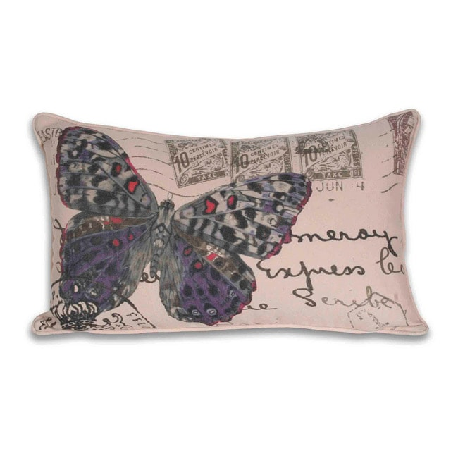 French Pappilion Butterfly Postcard 12x20-inch Pillow