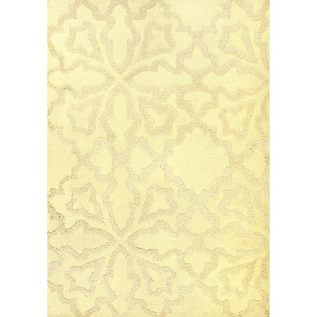 Mykonos White Hand Made Wool Rug (5'3 x 7'7)