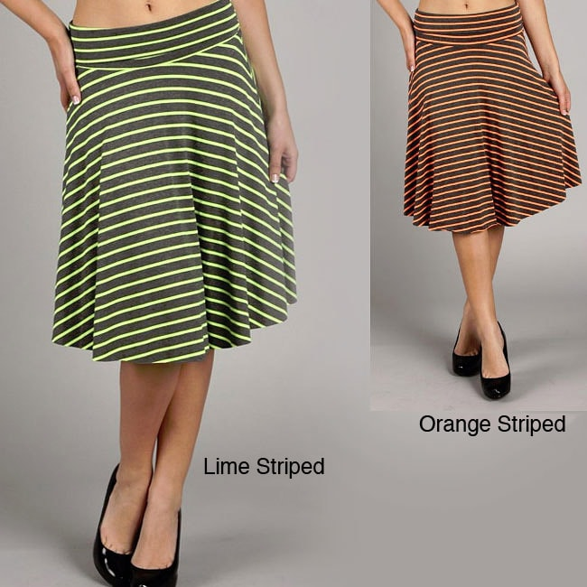 Tabeez Women's Neon Striped Fold-over Skirt
