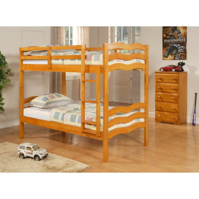 Donco Kids Wave Twin / Twin Bunk Bed in Honey