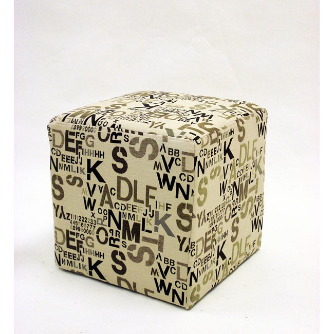 Square Ottoman in Modern Alpha Letters Fabric - Thumbnail 0