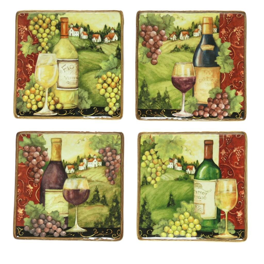 Certified International Merlot Sunset Assorted Dinner Plates (Set of 4)