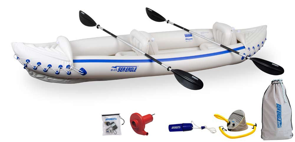 Sea Eagle 370 Deluxe Package White Three-person Inflatable Kayak Set