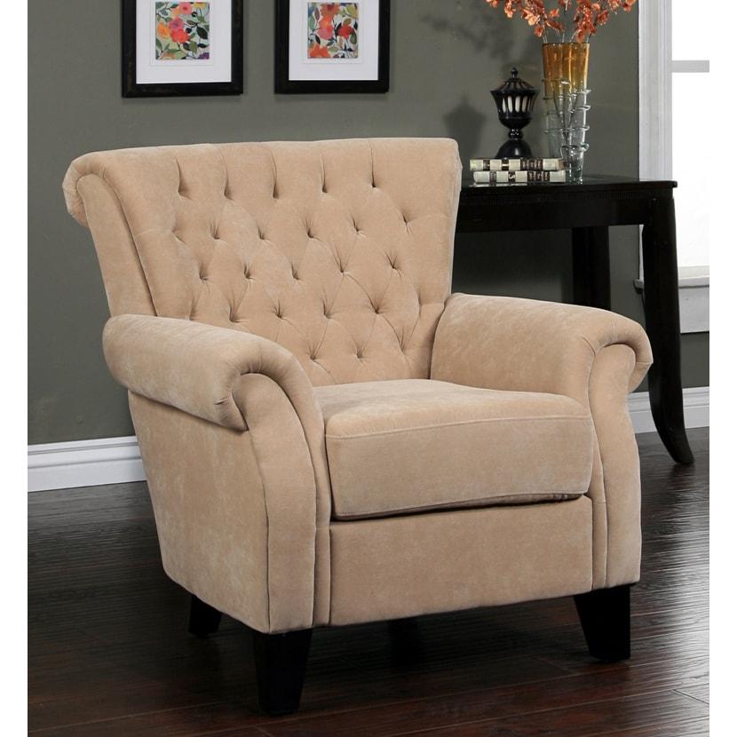Abbyson Living Roxbury Tufted Cream Fabric Armchair