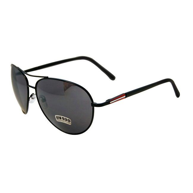 Women's Black/ Red Temple Metal Aviator Sunglasses