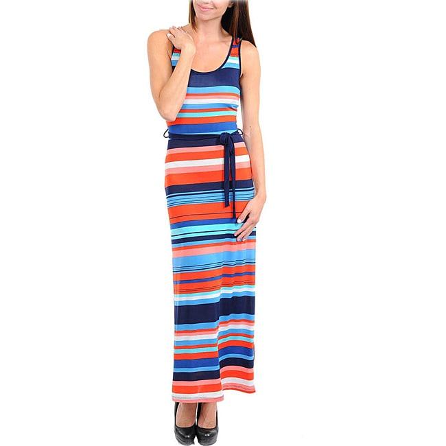 Stanzino Women's Navy, Orange and Blue Striped Maxi Dress with Sash