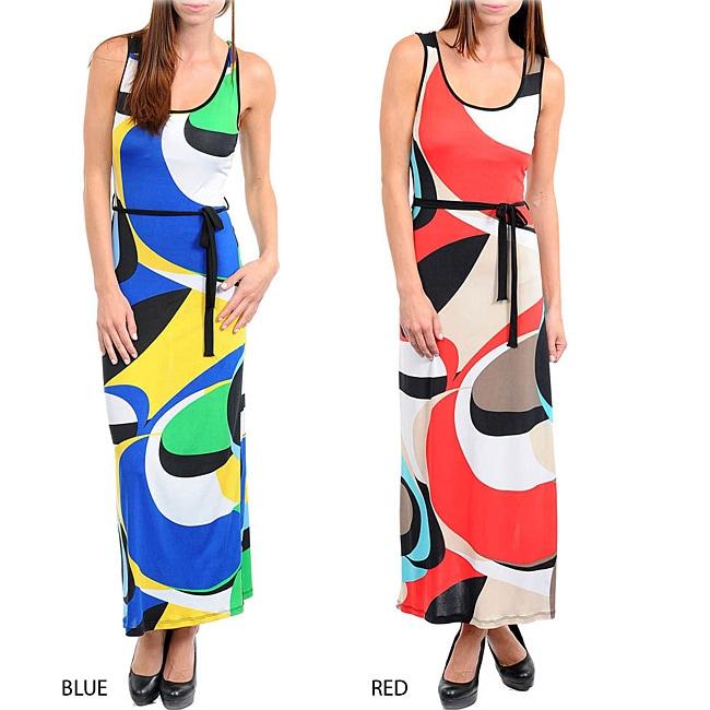 Stanzino Women's Printed Long Dress with Sash