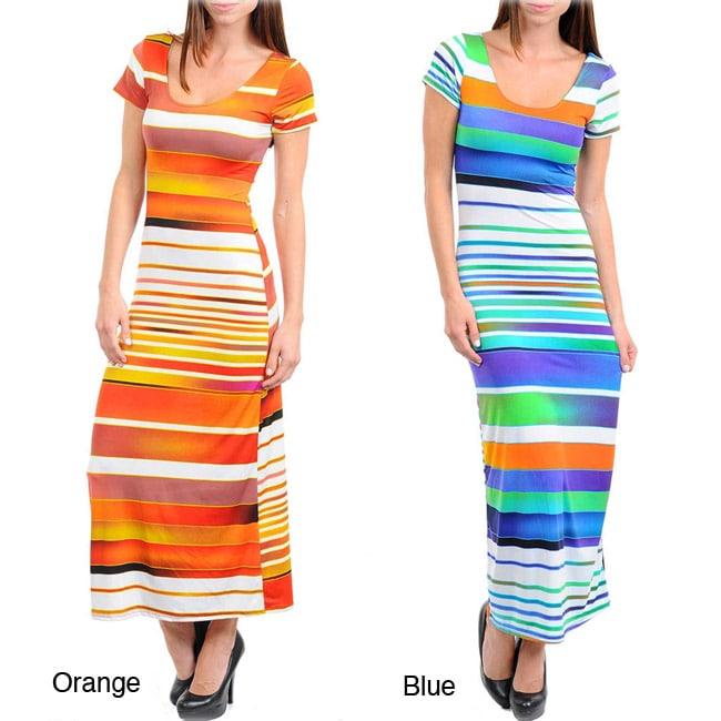 Stanzino Women's Striped Twist Back Maxi Dress