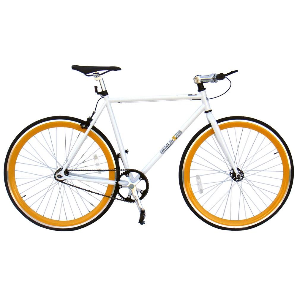Galaxie Fixie Bike, White Frame/Orange Wheels