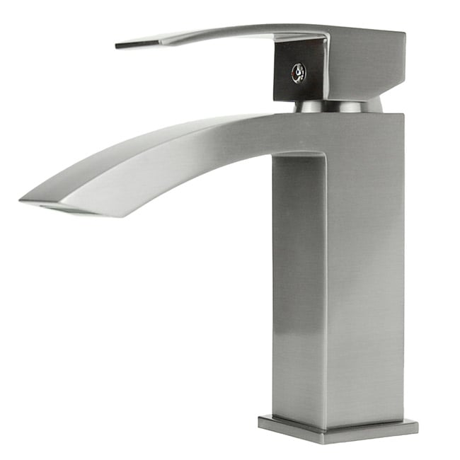 Square Single Hole Brushed Nickel Bathroom Faucet