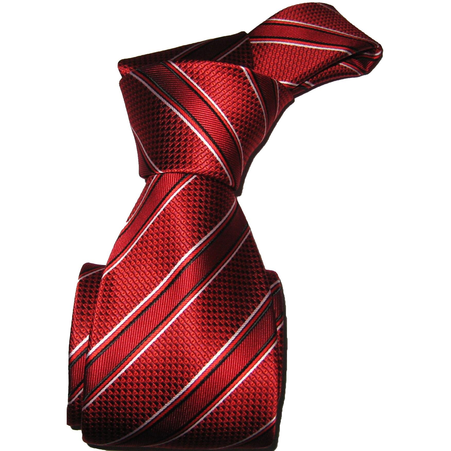 Dmitry Men's Red Striped Italian Silk Necktie