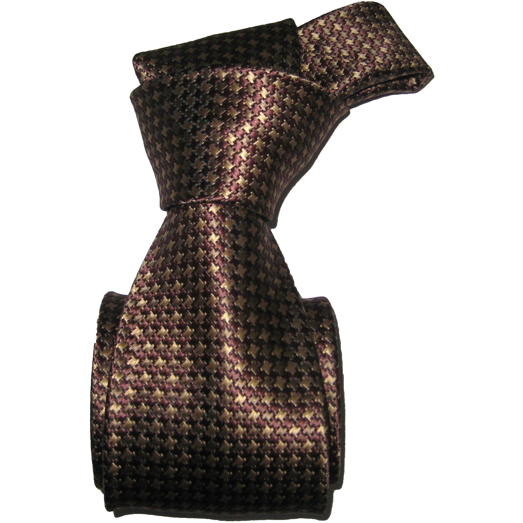 Dmitry Men's Brown Hound's Tooth Italian Silk Necktie