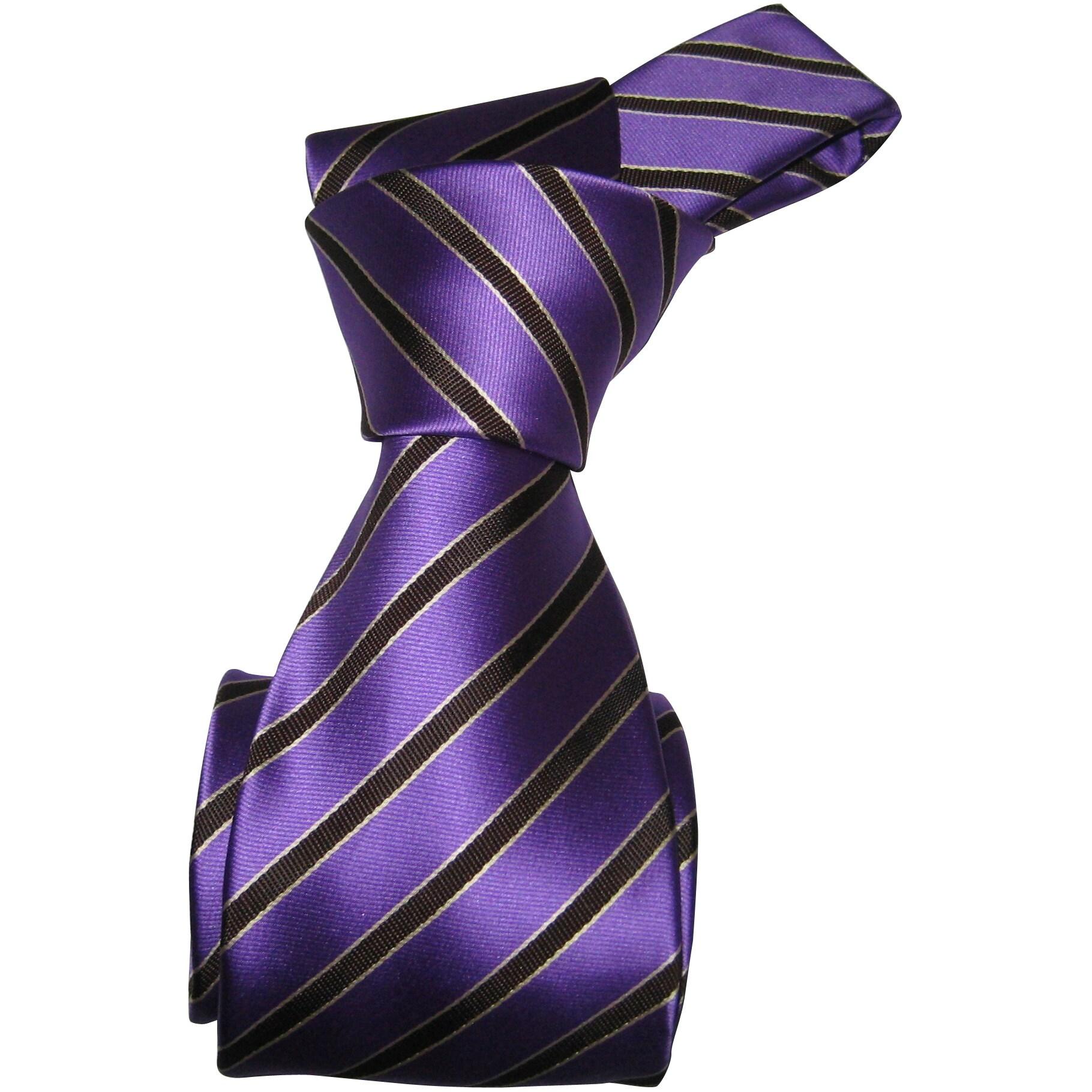 Dmitry Men's Purple Striped Italian Silk Necktie