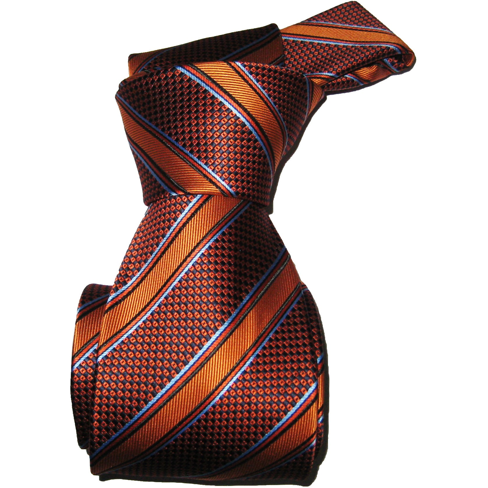 Dmitry Men's Dark Orange Striped Italian Silk Necktie