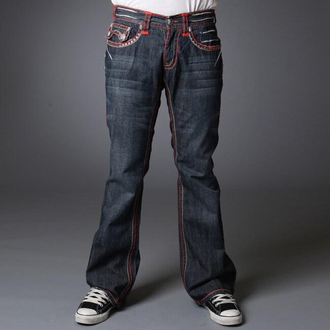 Laguna Beach Jean Co. Men's 'Hermosa Beach' Red Stitch Austrian Crystal Embellishments Jeans (Size