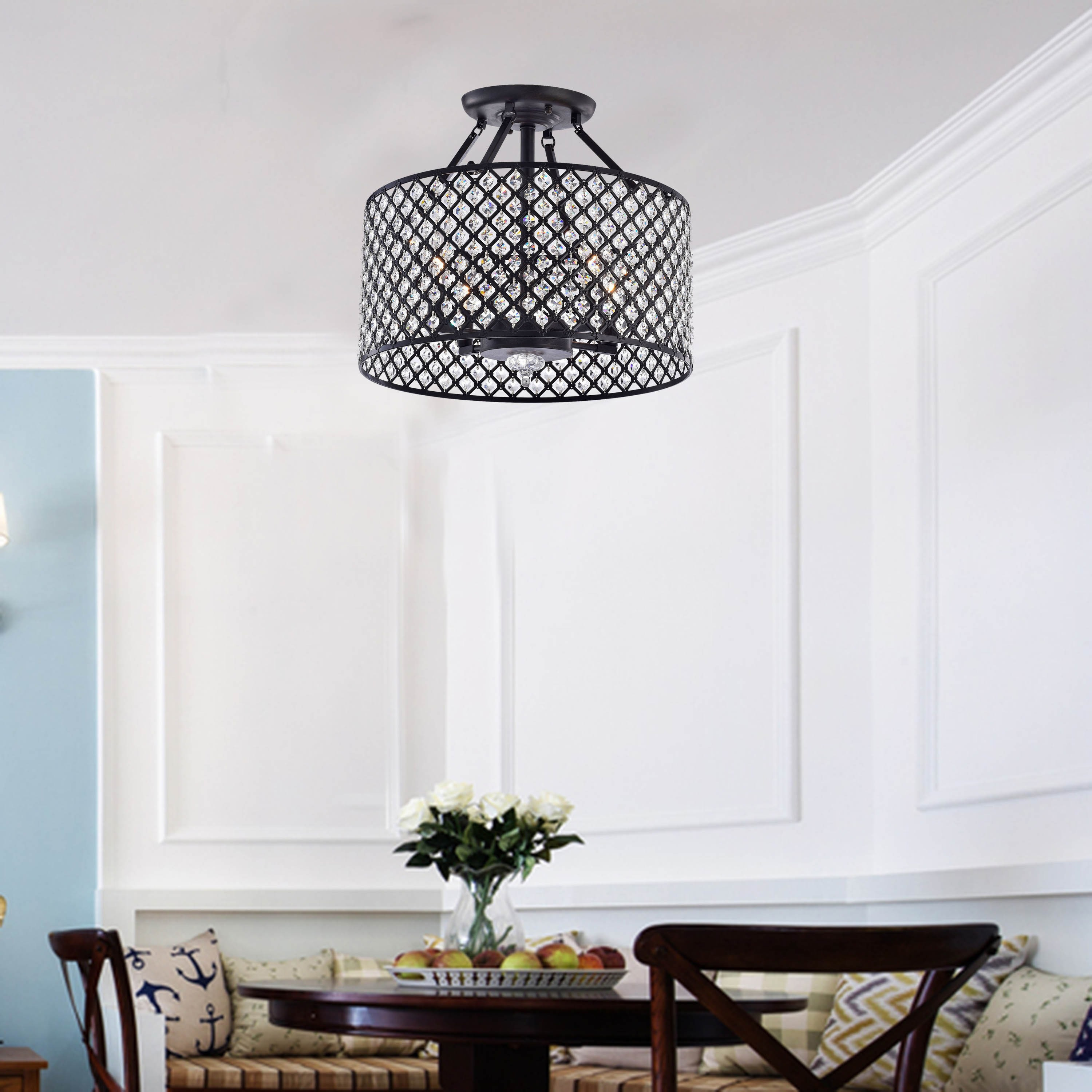 Silver Orchid Tierney Antique Black 4 Light Round Crystal Ceiling Chandelier