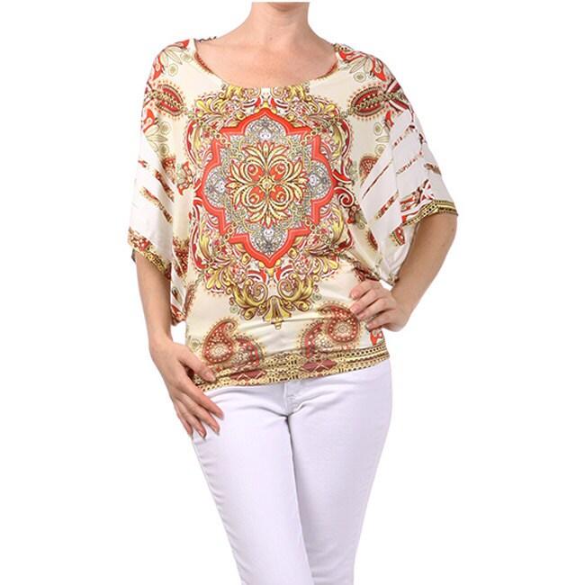 Tabeez Women's Cream Paisley Butterfly Top