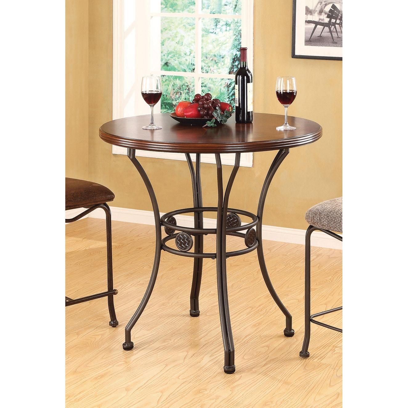 Tavio Wood/ Bronze Metal Bar Table