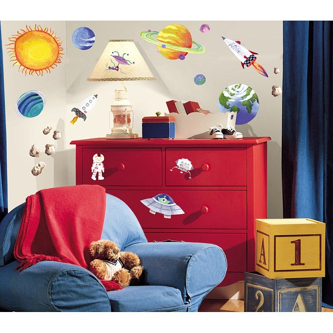 Roommates outer space peel and stick vinyl wall decals for Outer space vinyl wall decals