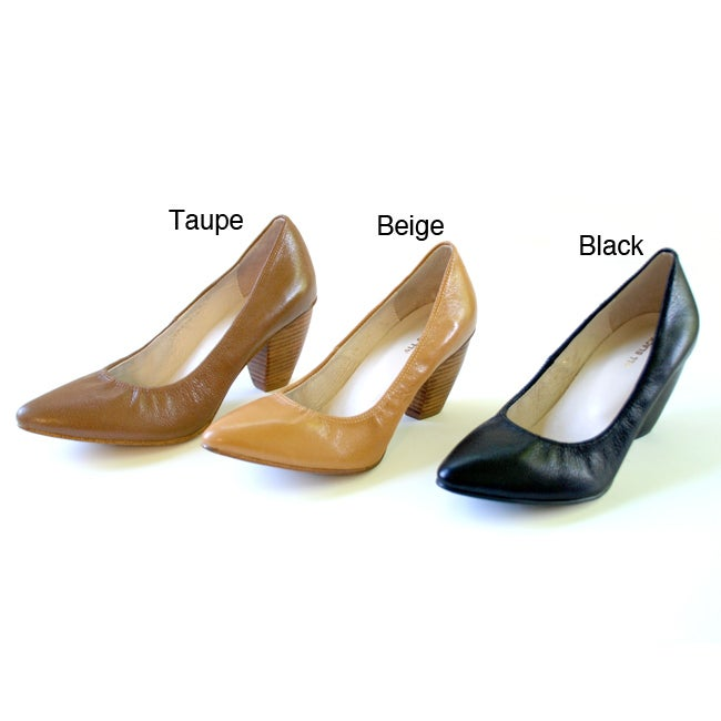 All Black Women's Leather Gathered Pumps