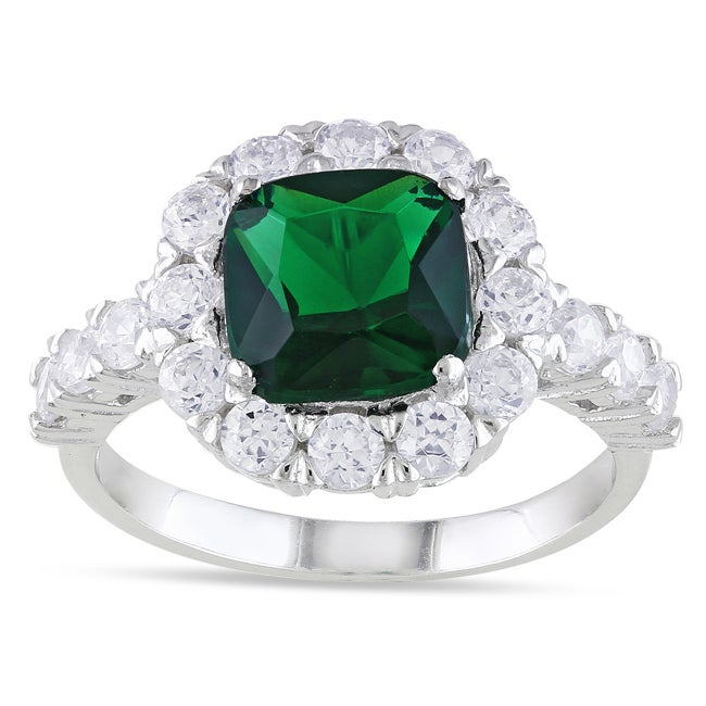 Miadora Sterling Silver Green Glass and Cubic Zirconia Fashion Ring