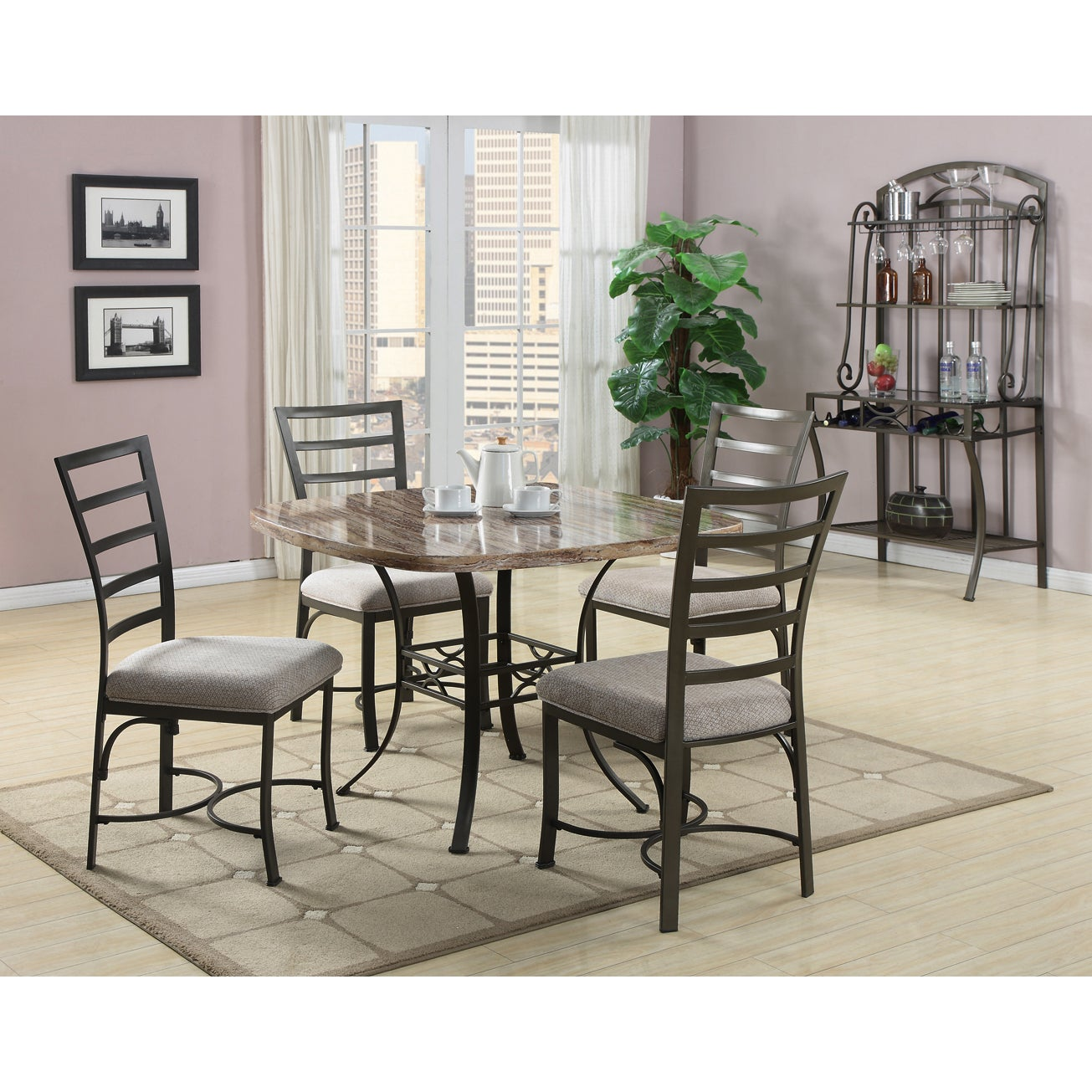 Val 5 Piece White Faux Marble Top Dining Set - Thumbnail 0