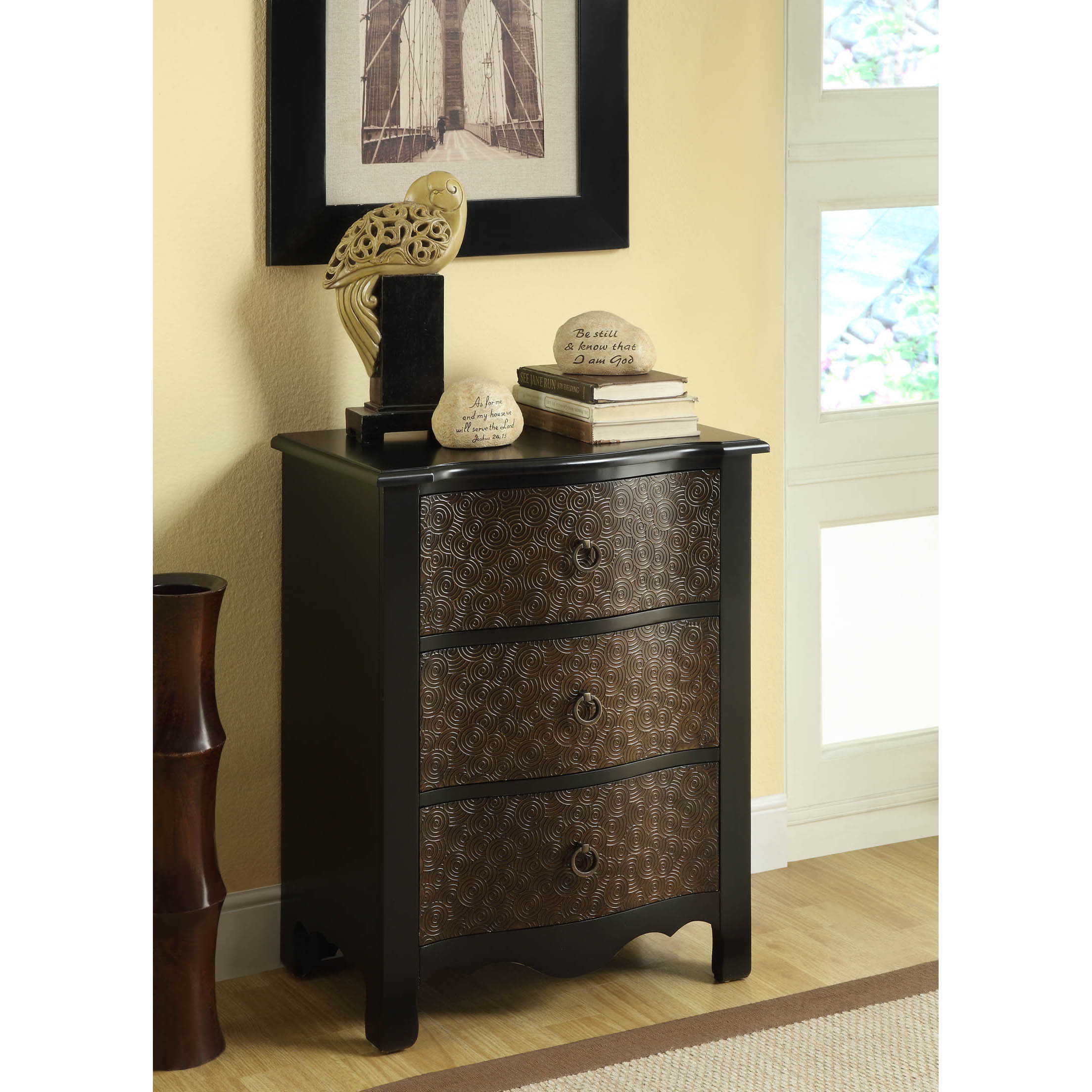 Black/ Gold Transition 3-drawer Bombay Chest