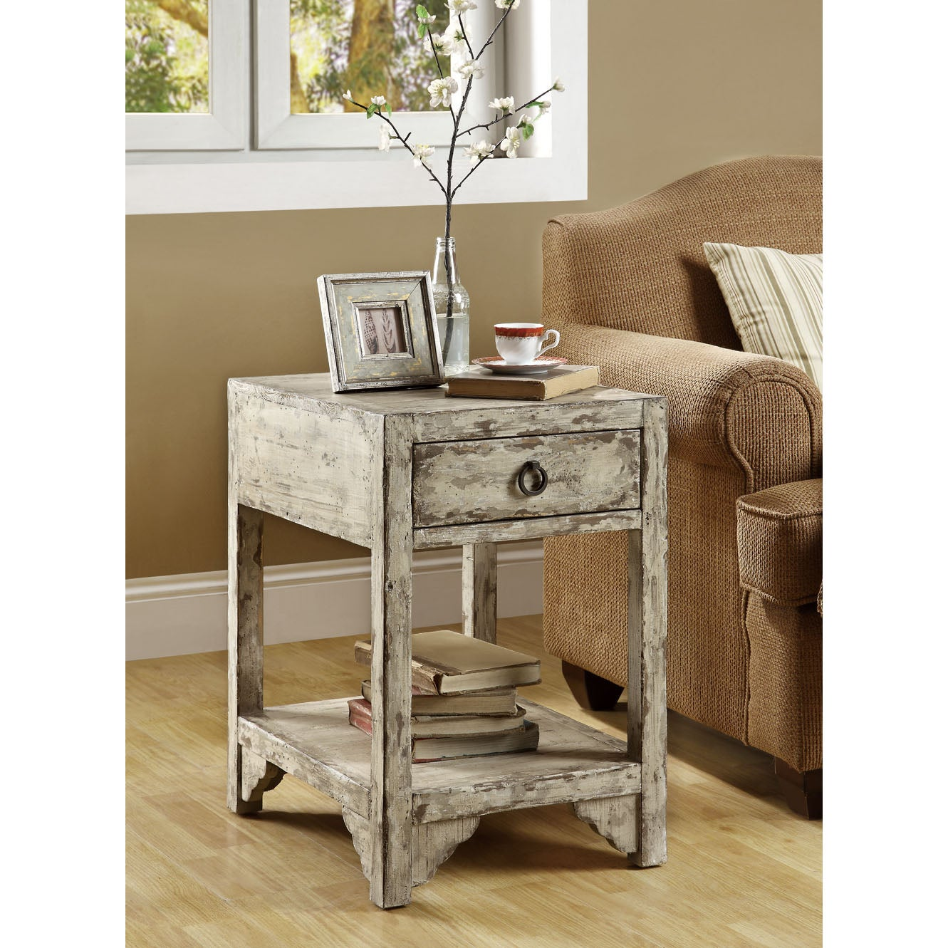 Mixed Taupe Reclaimed Wood 1-drawer Accent Table