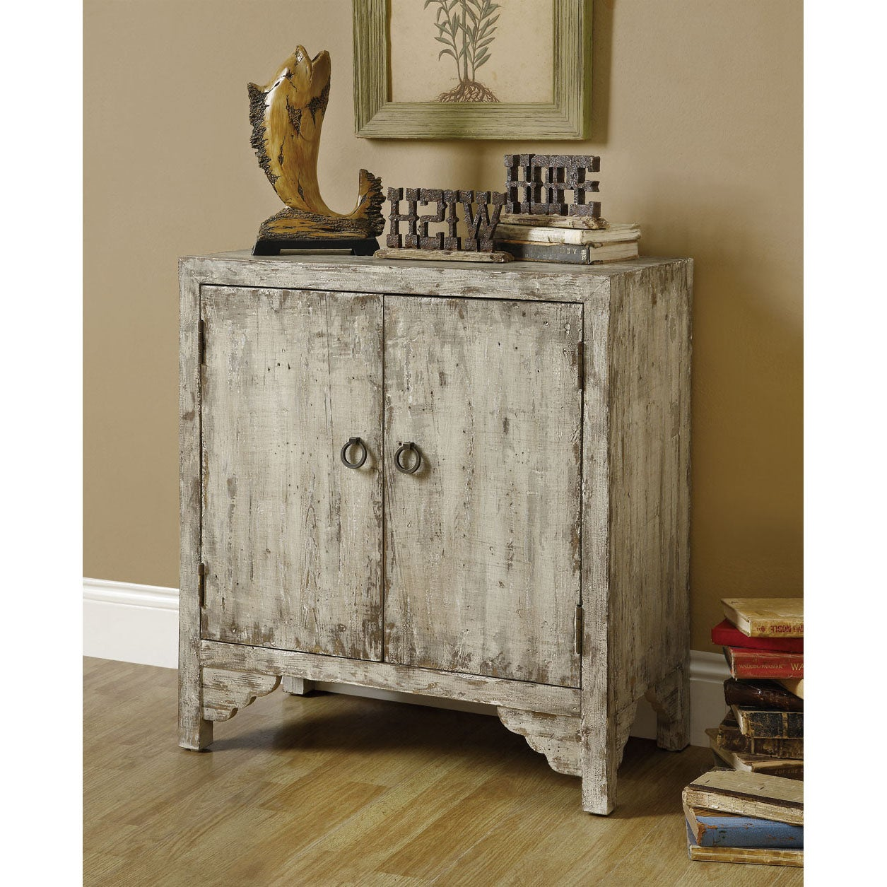 Mixed Taupe Reclaimed Wood 2-door Accent Cabinet