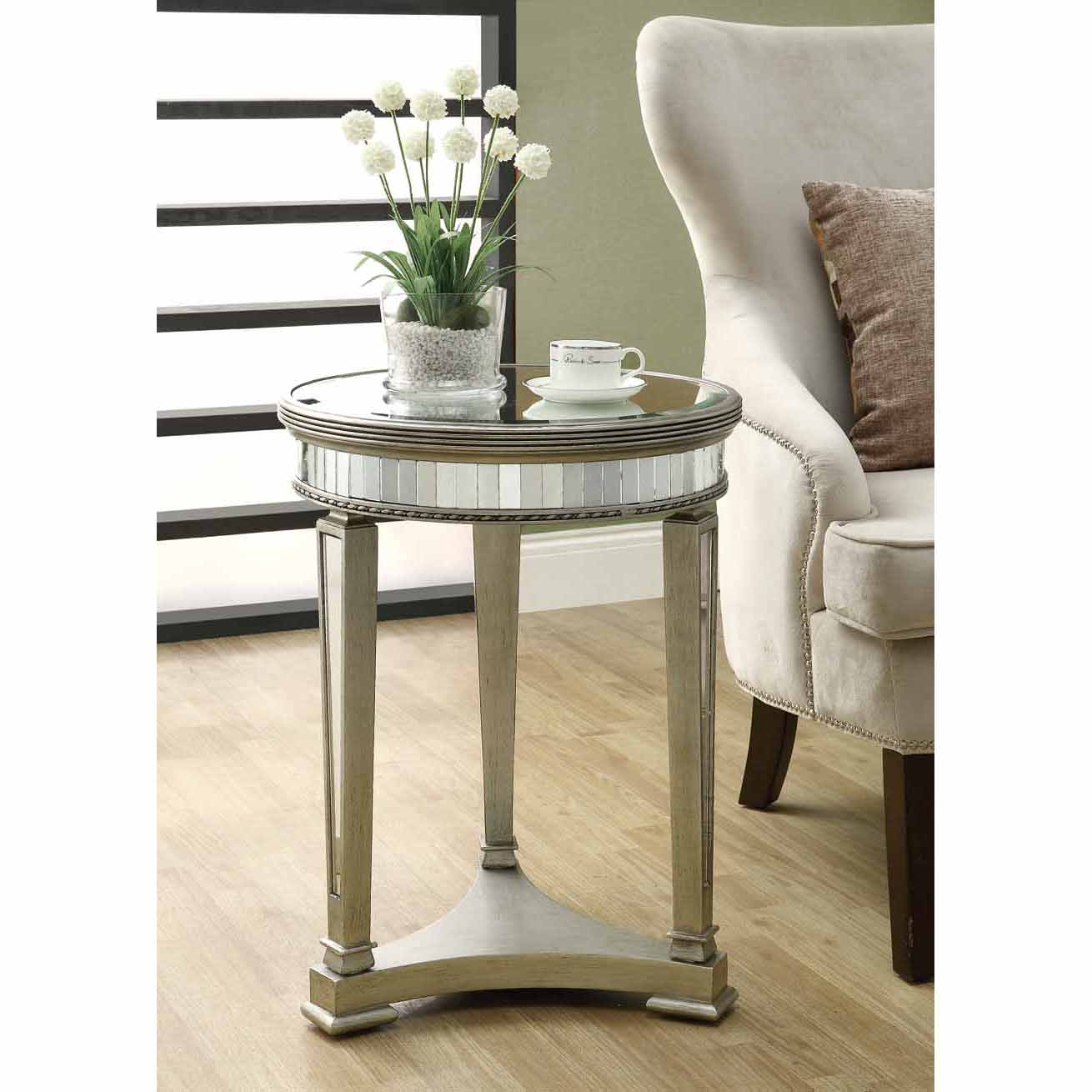 Mirrored 20-inch Dia Accent Table