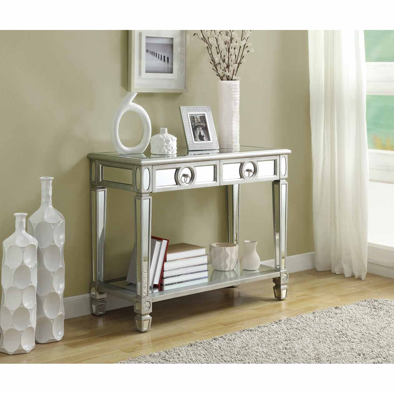Mirrored 38-inch Sofa Console Table With Two Drawers - Thumbnail 0