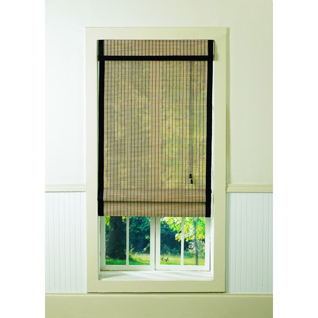 "Bamboo Black/ Natural Roman Shade (52"" x 64"") - Thumbnail 0"