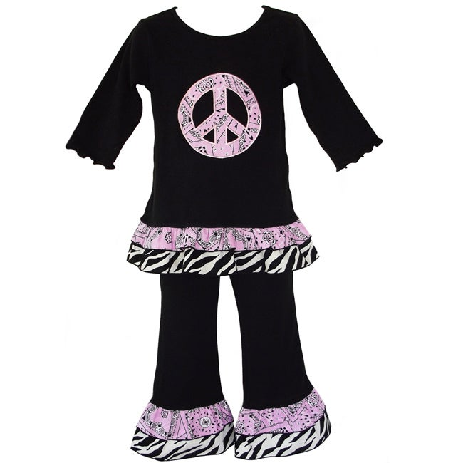 AnnLoren Girls' 2-piece Paisley Peace Sign Outfit