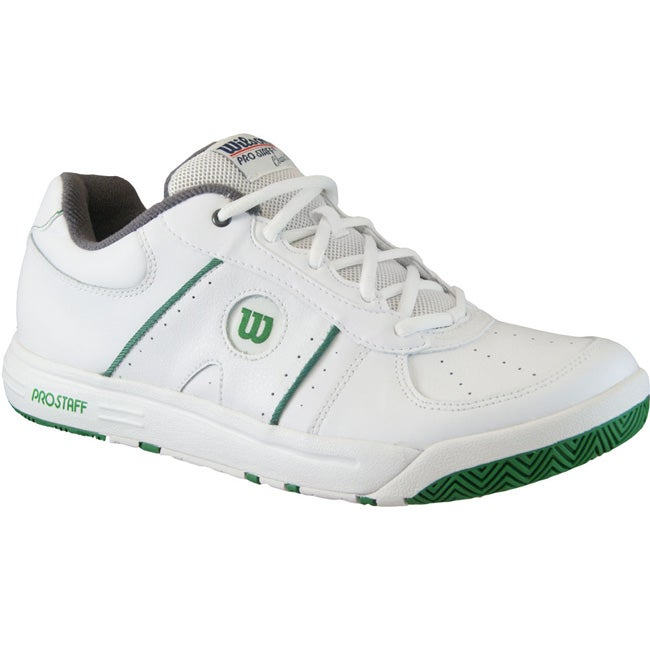 Wilson Mens Pro Staff Classic II White/Green/Gray Tennis Shoes