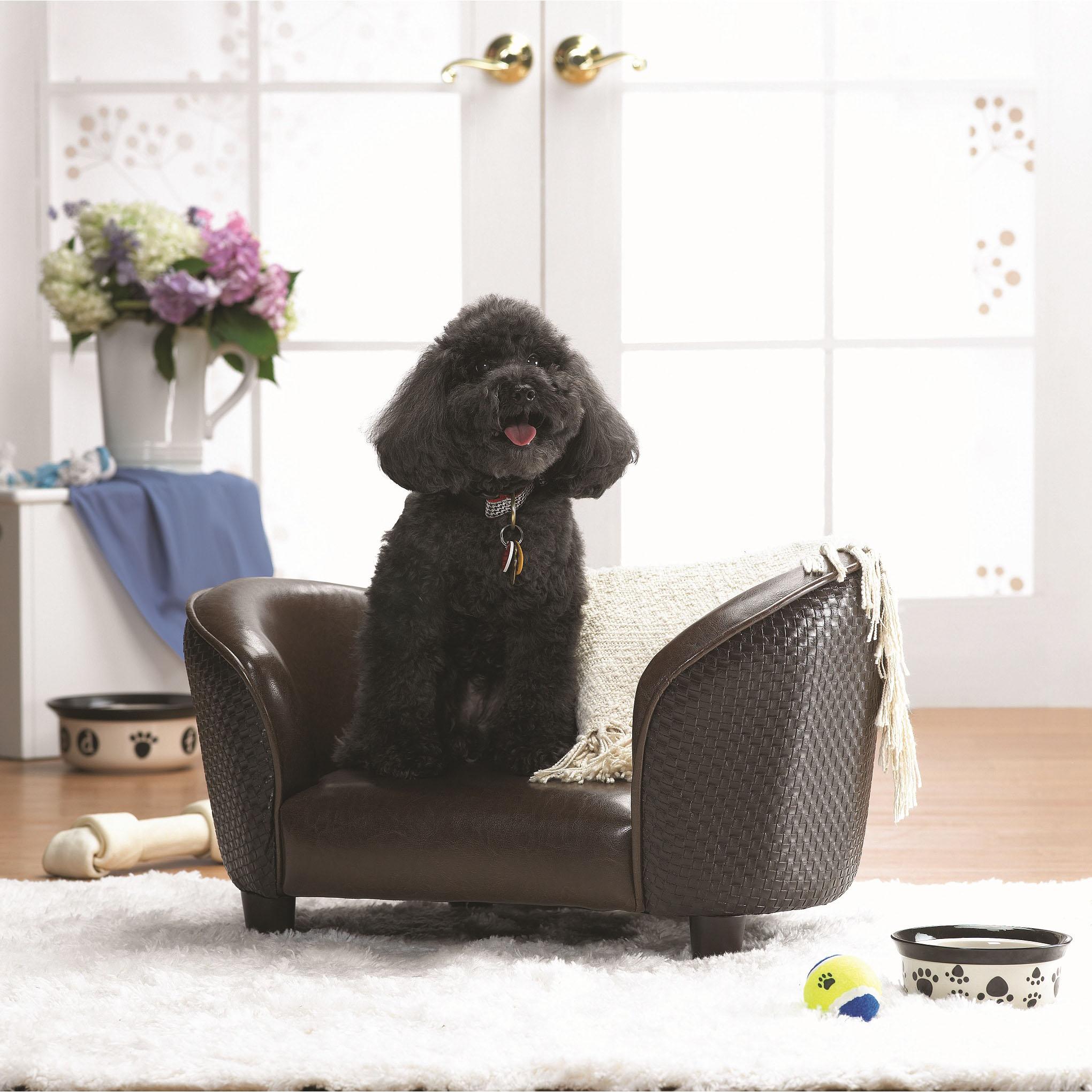 Enchanted Home Pet Brown Basketweave Snuggle Sofa Bed