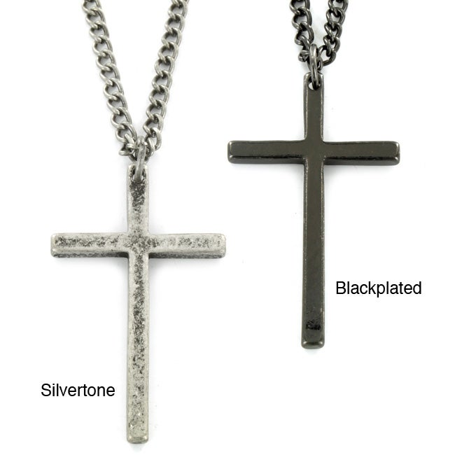 West Coast Jewelry Unisex Silvertone or Black-plated Thin Cross Pendant Necklace