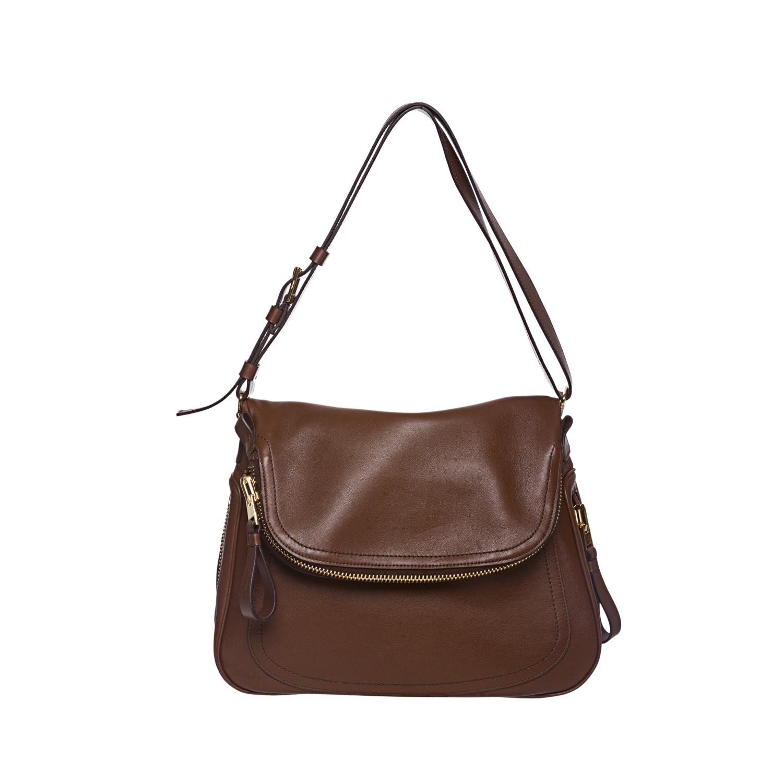 552f04866365 Shop Tom Ford Brown Leather Flap-over Shoulder Bag - Free Shipping ...