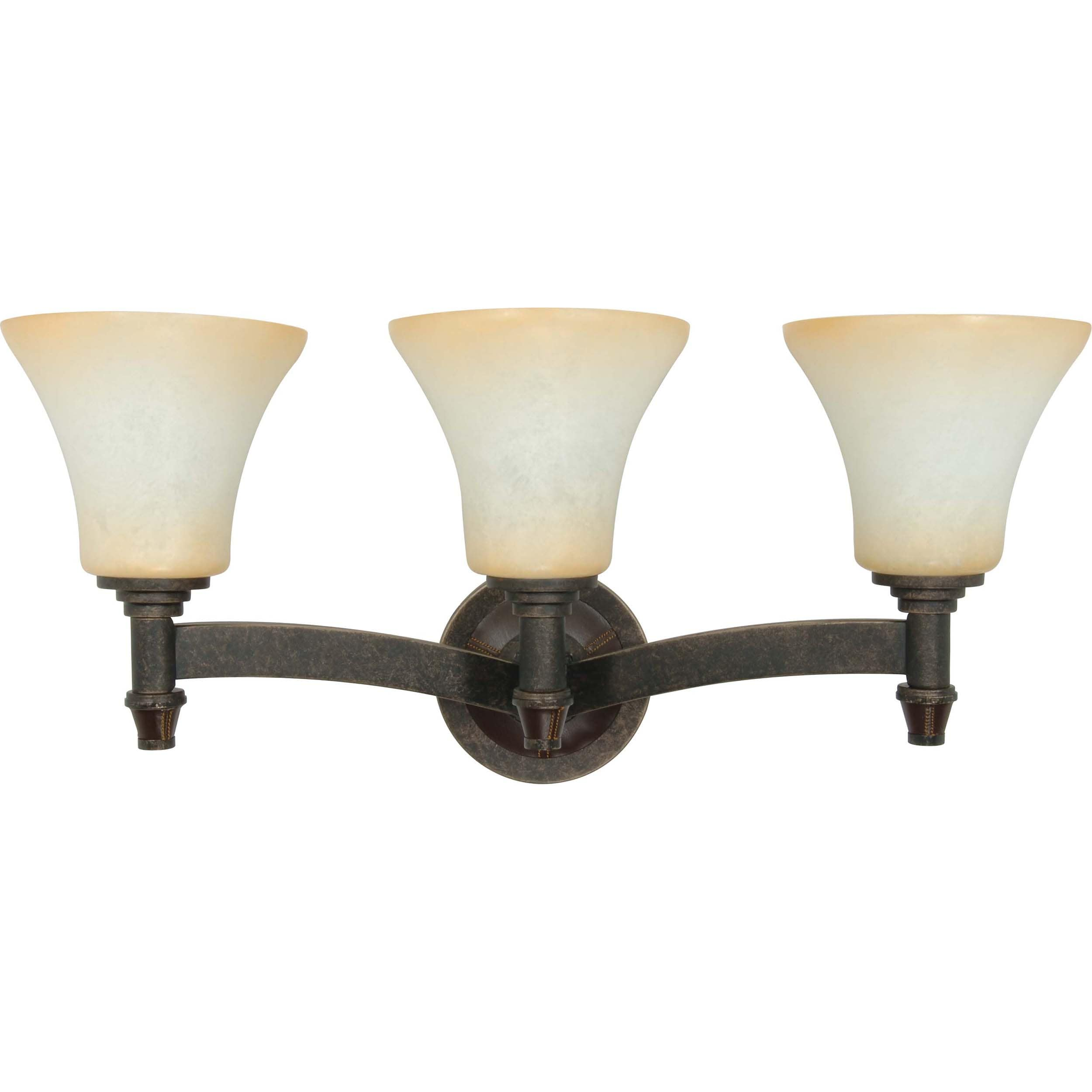 Viceroy 3 Light Wall Vanity Golden Umber with Burnt Sienna Glass