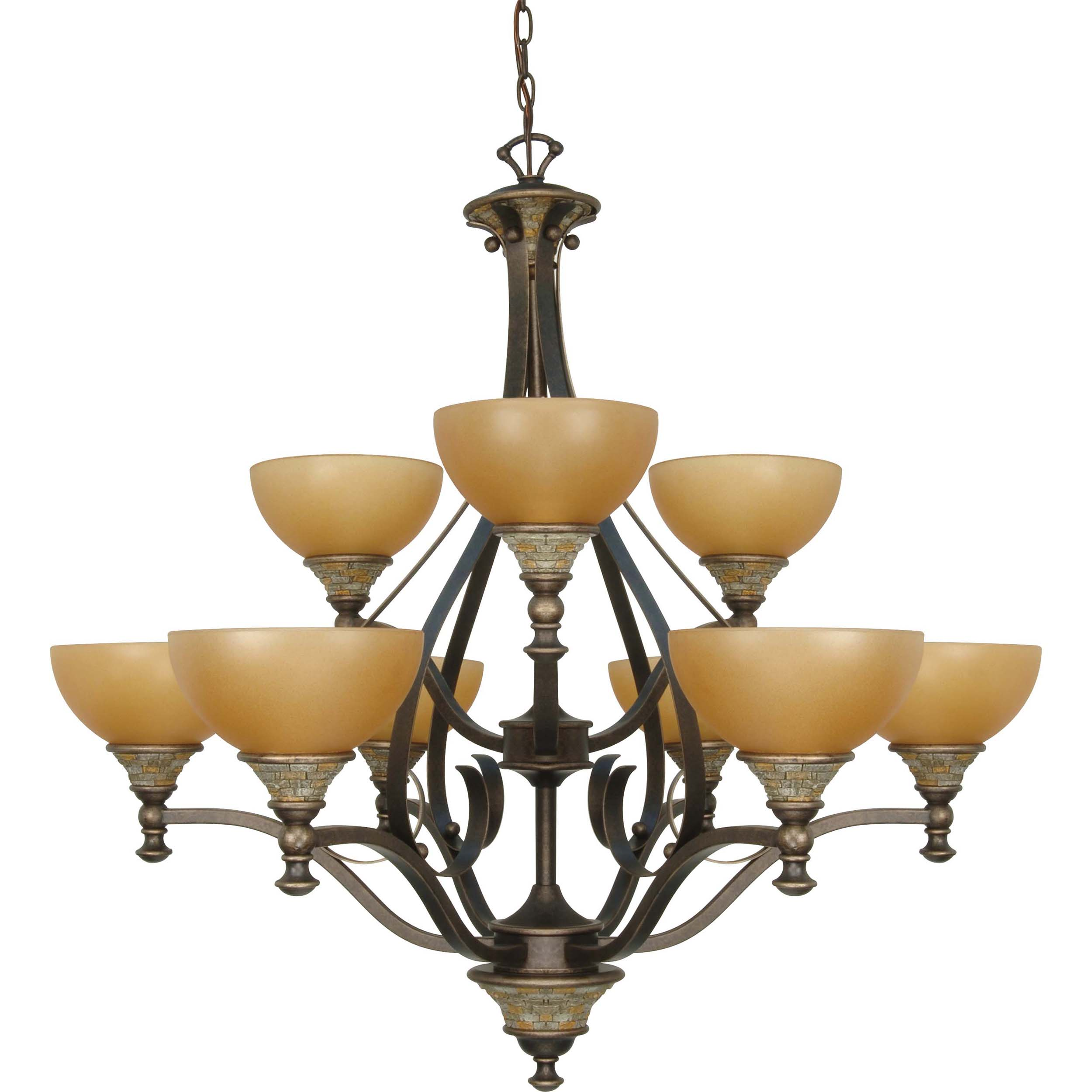 Rockport Tuscano 9 Light Chandelier Dorado Bronze with Sepia Colored Glass Shades - Thumbnail 0
