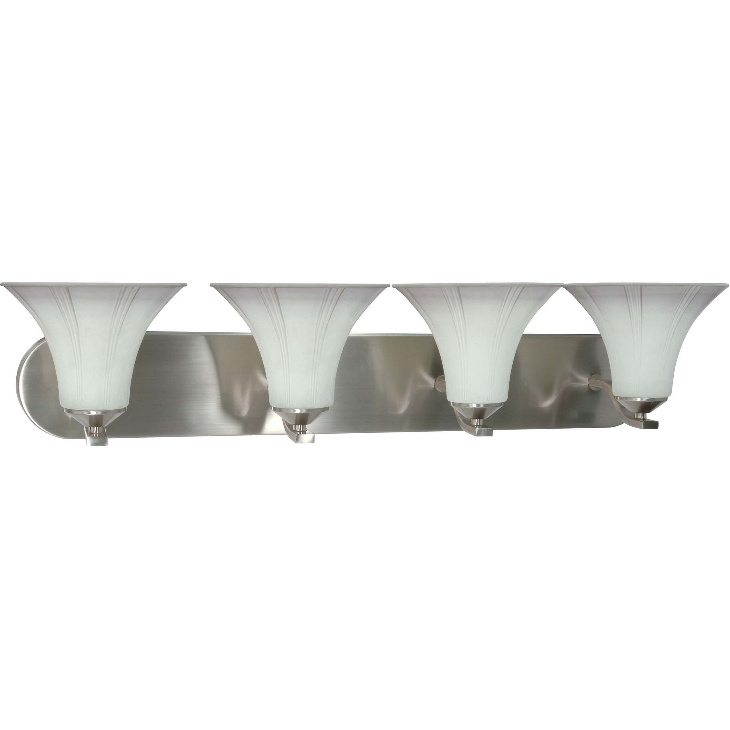 Delano 4 Light Wall Vanity Brushed Nickel with Grey Suede Glass