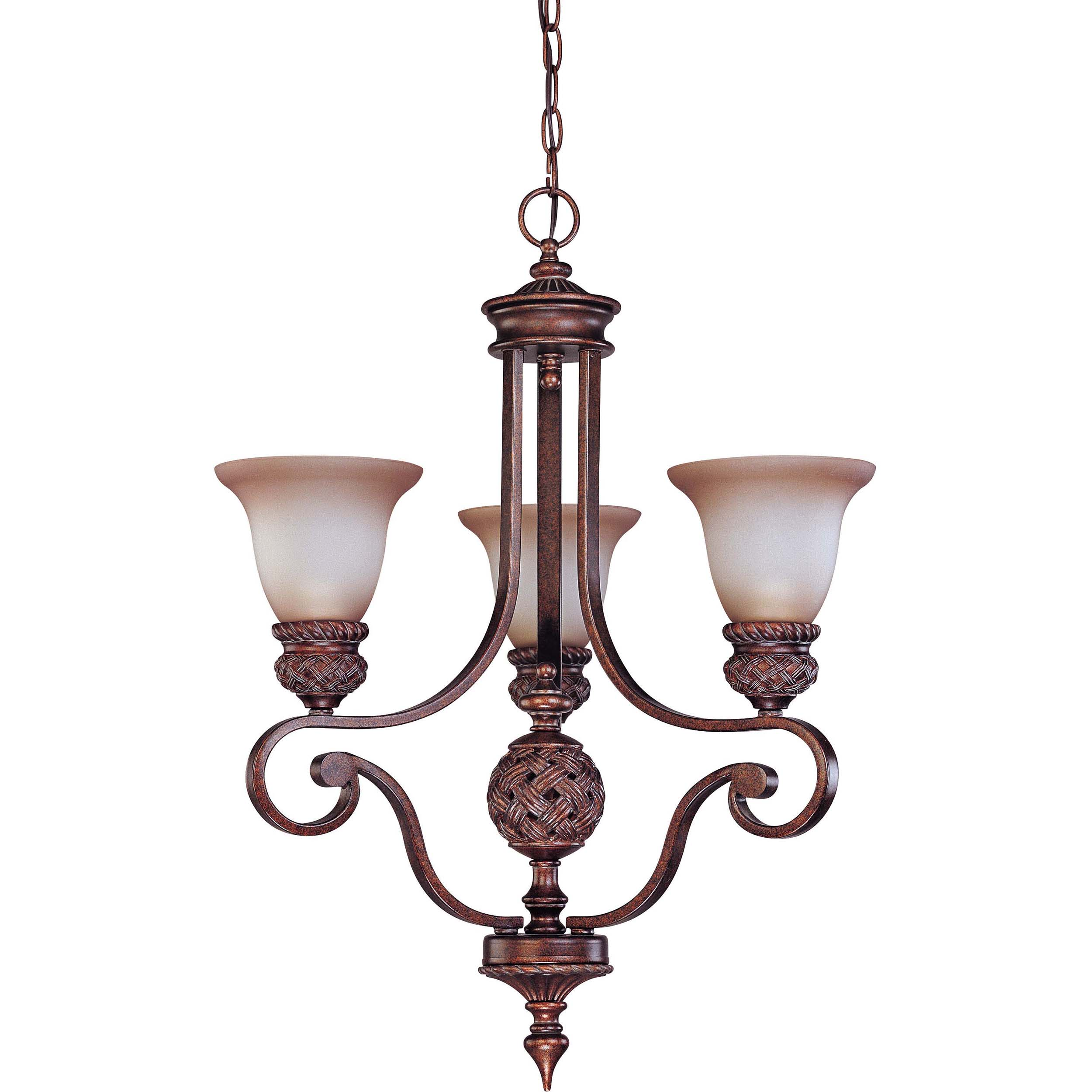 Wesley 3-light Arm Up Dark Plum Bronze With Amber Bisque Glass Chandelier - Thumbnail 0