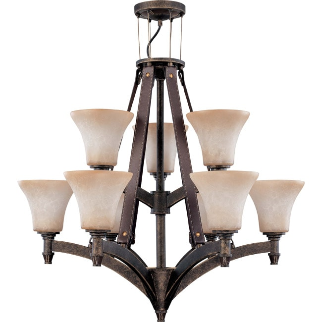 Viceroy 9-light Golden Umber With Burnt Sienna Glass Energy Star 2-tier Chandelier