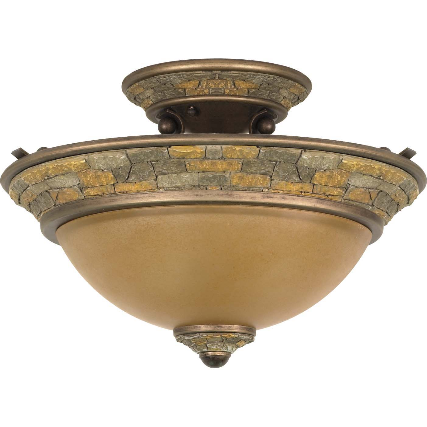 Rockport Tuscano 2-light Dorado Bronze Semi Flush Dome Light