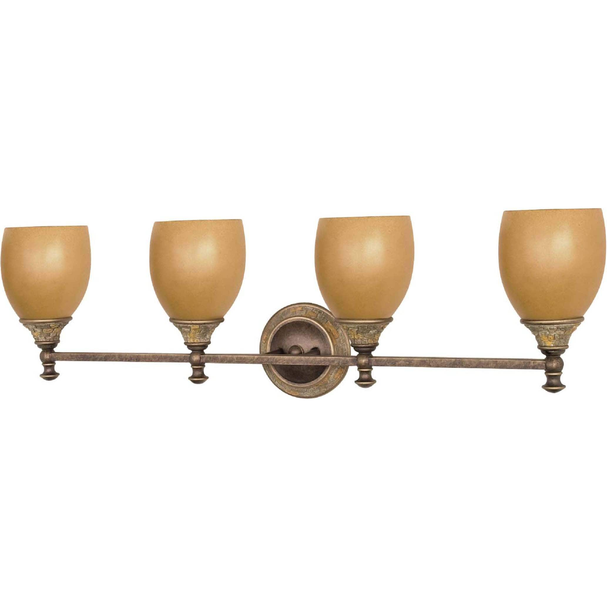 Rockport Tuscano Sepia Glass Dorado Bronze 4-light Vanity Fixture
